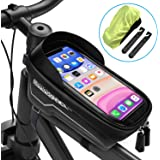 LEMEGO Bicycle Frame Bag Super Waterproof Bicycle Bag Large Capacity Eva Pressure-Resistant Handlebar Bag TPU Touch Screen with Sun Visor and Rain Cover, Suitable for Smartphones Under 6.5 Inches