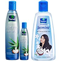 Parachute Advansed Aloe Vera Enriched Coconut Hair Oil, 250ml (Free 75ml) & Parachute Advansed Jasmine Coconut Hair Oil, 500ml