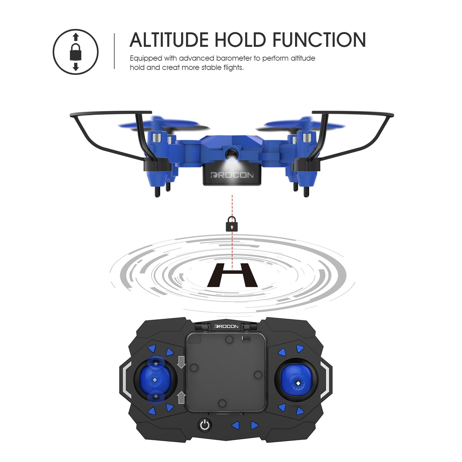 GEEKERA Mini Drone for Children Remote Control Helicopter with Altitude Hold One Key Return 3D Flips Flying Toys RC Aircraft Protective with LED light Fun Gift for Kids and Beginners