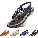 gracosy Damsandaler sommar strand flip flops string damer bohemiska kilskor elastisk T-rem flätade platta sandaler klämma tå