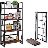 Coavas Iron No-Assembly Folding-Bookshelf Storage Shelves 4 Tiers Racks (23.6 X 11.8 X 49.4 Inches, Brown)