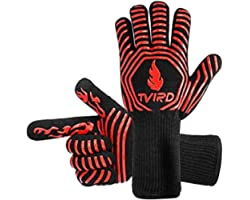 BBQ Gloves Extreme Heat Resistant, Tvird BBQ Grilling Gloves 932°F/500° C Extreme Heat Resistant Oven Gloves, Forearm Protect