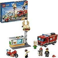 LEGO City Fire Fiamme al Burger Bar con 3 Minifigures, Una Autopompa dei Pompieri con Lancia Elementi Acqua, Set di...