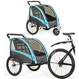 Rimorchio e Passeggino 2 in 1 Rimorchio Bici per Bambino Rimorchio Bici con Buggy Set + Sospensione BT504S (Blu)