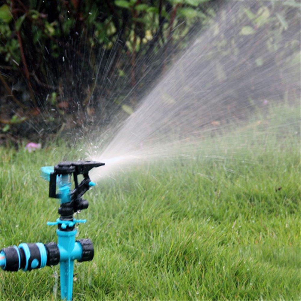 QAZWSX Gartensprenger, Justierbare 360 Grad-Automatische Drehen Doppelten Einlass-Wasser-Sprüher Für Hauptrasen…