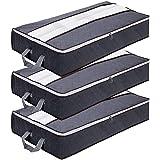 GoMaihe Sac de Rangement sous Lit Lot de 3, Rangement sous Lit Grande Non-Tisse Pliable, Sacs de Rangement pour Couette Édred