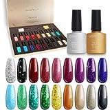 Lavender Violets 20pcs Glitter Gel Nail Polish Gift Set 18 Colour Base n No Wipe Top Coat Nail Art Manicure Starter Kit…