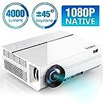 ABOX 4000 Lumen Beamer, Native 1080p LED Videoprojektor tragbarer Full HD, unterstützt HDMI USB SD VGA AV Laptop...