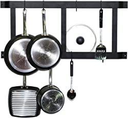 Geo Fashion Iron Indiansterline Wall Mounted Pot Rack Vertical, 18-Inch, Black