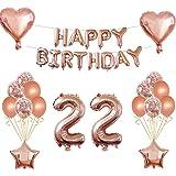Oumezon Decoración para 22 cumpleaños para niña, color oro rosa, decoración para el 22 cumpleaños, guirnalda de feliz cumplea