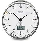 ADE Radioväckarklocka analog CK 2022 (ljudlös väckarklocka utan tickande, termometer, datum och snooze-funktion, 8,2 cm diame