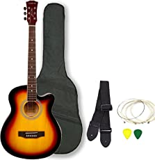 Kadence Combo of Frontier Series Acoustic Guitar with Equlizer and Pickup,Bag, 1 Pack Strings, Strap and Picks (KAD-FNTR-SUN-EQ-C)