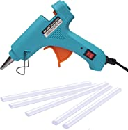 Glun 20-Watt Mini 7MM Hot Melt Glue Gun with 5 Sticks (Turquoise)