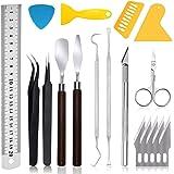 18 stuks Craft Weeding Vinyl Tools Set, Basic Craft Vinyl Tools, met reinigingshaken, pincetten, spatel, olieverfmes, schaar,