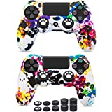 6amLifestyle Cover Skin Controller PS4 Dualshock in Silicone Antiscivolo, 2 Cover Controller PS4 (Graffiti) + 10 Gommini…