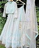 Yashika Fashion Girl's Net Semi-stitched Lehenga Choli (YF_157_Sky Blue_Free Size)
