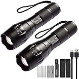 Xisunred - Pack de 2 linternas LED de alta potencia con 2 pilas recargables 18650. Linternas tácticas con cargador USB
