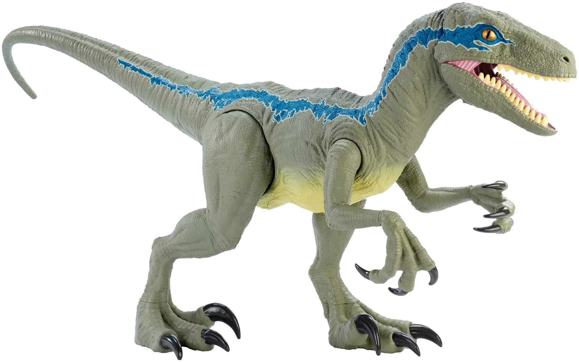Mattel – Jurassic World Velocirráptor Blue Supercolosal, Dinosaurio de Juguete (Mattel GCT93)