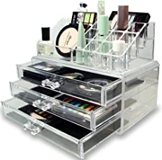 Ad Fresh Acrylic Cosmetic Makeup Organiser & Jewelry Cosmetic with 3 drawer Transparent Plastic Storage Box