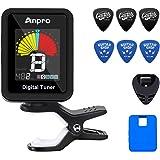 Anpro accordeur de guitare avec LCD écran couleur,inclus 6pcs Kit médiator guitare,avec et Ecran LCD 360° Rotation,Peut être