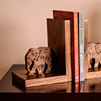 ExclusiveLane Wooden Hand Carved & Engraved Elephant Book End in Sheesham Wood - Book Organizer Book Racks Shelf Book…