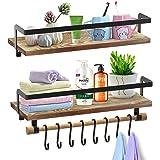 SHAN ZU Lot de 2 étagères flottantes murales en bois rustique avec barre de serviette et 8 crochets amovibles pour chambre à