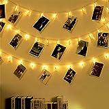 Fulighture Guirlande lumineuse avec pinces pour photos - 6 m - 40 clips - Alimentation par USB