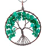 Rockcloud Tree of Life Pendant Amethyst Rose Crystal Necklace Chakra Tumbled Stones Jewelry