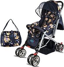 BabyGo Delight Reversible Baby Stroller & Pram with Mosquito Net, Mama Diaper Bag & Wheel Breaks (Teddy Bear)