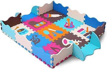 Tappeto Puzzle per Bambini   in Soffice Schiuma EVA   Tappetino Gioco Per la Cameretta   Animali e Giocattoli Per Bambini (116x116x1cm) meiqicool 009B