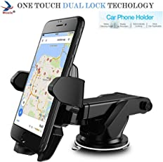 MOZIX Adjustable Car Windshield Mount with Quick One Touch Technology Mobile Holder(Black,MXCST0130)