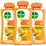 Dettol Body Wash and Shower Gel for Women and Men, Energize (Pack of 3-250ml each) | Soap-Free Bodywash | 12h Complete Odour