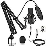 TONOR XLR Mikrofon Kondensator Mikrofon Kit Professional Nieren Studio mit T20 Mikrofonarm, Mikrofonspinne, Popfilter für Auf