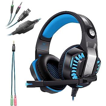 ... USB+3.5mm Cuffie Gaming per PS4 con Microfono Cuffia da Gioco Gamer  Stereo LED Luce Regolatore di Volume Noise Cancelling per Xbox One PS4 PC  Laptop Mac ca7e2a96424b