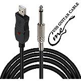 Câble guitare-USB, guitare basse vers PC Interface de connexion Convertisseur Adaptateur, fiche USB de 6,5mm, câble pour enr