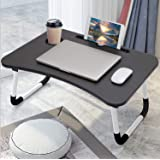 LAXIFY Generic Multipurpose Laptop Table with Dock Stand & Non-Slip Legs Foldable and Portable Lapdesk for Study & Bed, Brown