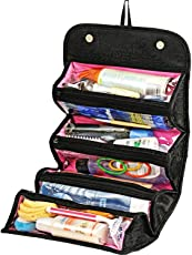 ShoppoStreet Women Ladies Gents Girls Black Cosmetic/Make up/Jewelry/ Toiletry Roll-N-Go Roll up Fold-able Travel Bag Pouch Organizer