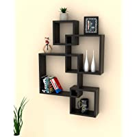 Onlineshoppee Rafuf Intersecting Floating Wall Shelf with 4 Shelves (Standard, Black)