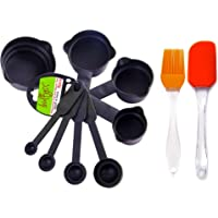 Bulfyss Popular Combo - 8Pcs Black Measuring Cups and Spoons Set, Silicone Series Spatula and Brush Set (Made in India)