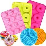 ESHUNQI Moldes de Silicona Donut, 5pcs Juego de Molde de Silicona Donut/Molde de Pastel de gofres Y moldes para Hornear Paste