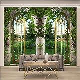 Carta da parati moderna Murales Foresta verde porta d'epoca 3D Fotomurali in TNT Murale alla moda Decorazione da Muro Poster