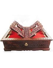 Wood City Handicrafts Handicrafts Wooden Decorative Useful Rehal Box Geeta Ramayan Bybal Holy Books Stand Storahge Box
