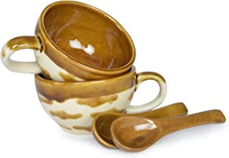 Stylemyway Handcrafted Studio Pottery Brown Glazed Soup Bowl/Maggi Bowl With Spoons - Set Of 2