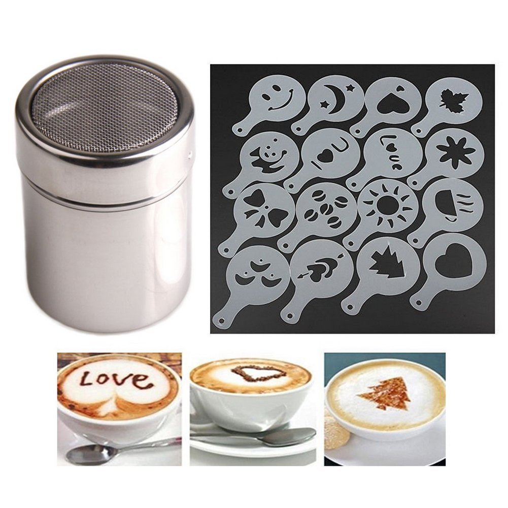 Chocolate-Shaker-DusterStainless-Steel-16pcs-Cappuccino-Coffee-Stencils-Template-Duster-Spray-Art