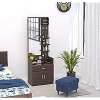 Bluewud Darci Engineered Wood Dressing Table/Mirror with Drawer, Storage Shelves and Bangle Holder (Darci - Wenge)