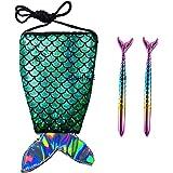 Sanjis Enterprises Sanjis Rakhi combo gift for Women's Girls includes Mermaid Tail Cross-Body Sling Bag and 2 Mermaid pens  B