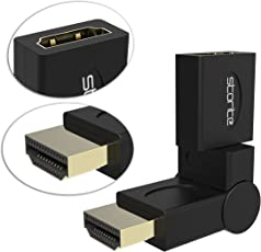 Storite Gold Plated 90-180 Degree HDMI Male to Female Adapter