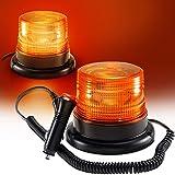 LED zwaailicht rondom, geel zwaailicht voor auto aanhanger caravan SUV - magnetische voet - 12V/80V geel