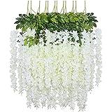FLOWRY 12PCS Fake Wisteria Garland Fleurs Artificielles Fleurs de Glycine en Plastique Fleur de Soie pour la Maison Garden Pa
