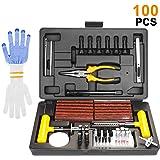 SHYOSUCCE 100pcs Kit de Réparation de Pneu avec Manometre Pression Pneu, Gants et 35pcs Accessoires pour Pneu, Kit de Reparat